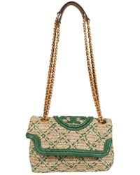 Tory Burch Fleming Soft Straw Small Convertible Shoulder Bag - Green
