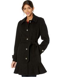 Kate Spade Military Shoulder Single Breasted Trench Coat - Black