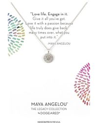 Dogeared - Maya Angelou: Love Life, Engage In It Necklace (sterling Silver) Necklace - Lyst