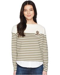 Lauren by Ralph Lauren - Petite Striped Layered Cotton Sweater - Lyst