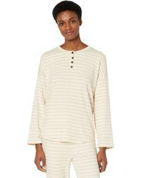 Madewell Mwl Breeze Henley Shirttail Tee In Stripe - White