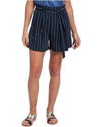 Lyssé Julia Woven Stripe Shorts - Blue