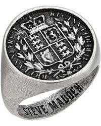 Steve Madden Great Britain Sovereign Shield Coin Ring - Metallic