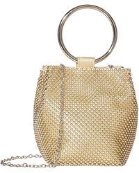 Jessica Mcclintock Gwen Ball Mesh Ring Wristlet Pouch Clutch Clutch Handbags - Metallic