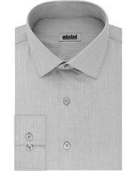 Kenneth Cole Slim Fit Stripe Spread Collar Dress Shirt - Gray