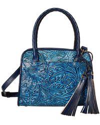 Patricia Nash Small Paris With Tooled Flower Design - Blue