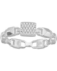 Michael Kors Precious Metal-plated Sterling Silver Mercer Link Pave Center Ring - Metallic