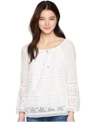 Lauren by Ralph Lauren - Petite Eyelet Lace Cotton Top (white) Women's Clothing - Lyst