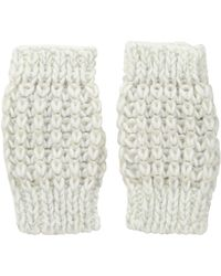San Diego Hat Company Kng3606 Metallic Yarn Fingerless Gloves - White