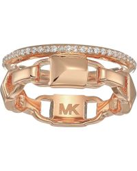 Michael Kors Precious Metal-plated Sterling Silver Mercer Link Pave Halo Ring (gold) Ring - Metallic