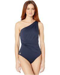 MICHAEL Michael Kors Urban Gypsy One Shoulder Shirred Surplus One-piece (tile Blue) Women's Swimsuits One Piece