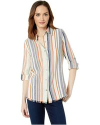 Karen Kane Fringe Button Up Shirt - Multicolor