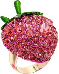 Betsey Johnson - Bright Pink Strawberry Ring (pink) Ring - Lyst
