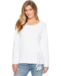 Mod-o-doc - Soft As Cashmere Cotton Interlock Sweatshirt W/ Asymmetrical Lace-up (new Navy) Women's Long Sleeve Pullover - Lyst