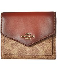 COACH - Small Wallet In Color Block Coated Canvas Signature - Lyst