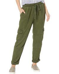 Bella Dahl High-waisted Cargo Pants In Crosshatch Tencera - Green