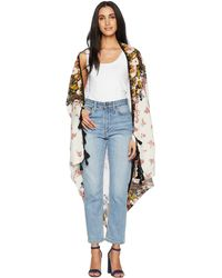 Free People - Bali Wrapped In Blooms Shawl (red Combo) Women's Sweater - Lyst