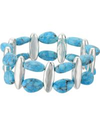 Robert Lee Morris - Turquoise And Silver Stretch Bracelet - Lyst