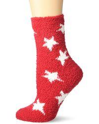 Karen Neuburger Fuzzy Soft Crew Sock - Red