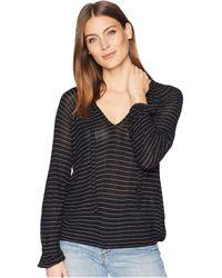 Lucky Brand - Drop Needle Stripe Top (black Stripe) Women's Clothing - Lyst