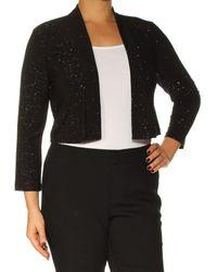 Calvin Klein Long Sleeve Shimmer Shrug - Black