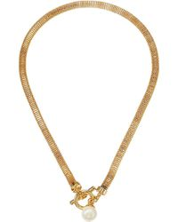 Lauren by Ralph Lauren 16 Mesh Toggle Pendant Necklace - Metallic