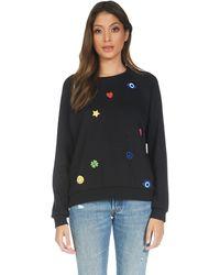 Lauren Moshi Noleta Elements Rainbow Vintage Pullover Sweatshirt - Black