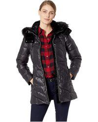 Marc New York - Chelsea Down Filled Velvet Trim Faux Fur Trim Hood (white) Women's Coat - Lyst
