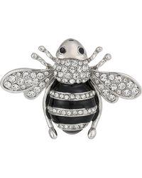 Nina - Enamelled Honey Bee Brooch (rhodium/white Cz) Brooches Pins - Lyst