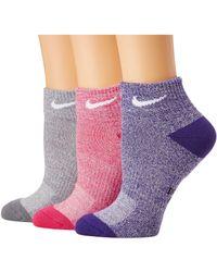 Nike - Performance Cushioned Mesh Quarter Training Socks 3-pair Pack - Lyst