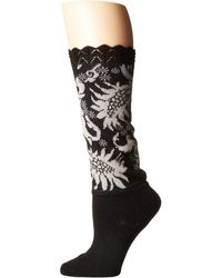 Natori - Scalloped Feathers Crew Bootie Topper (black) Women's Crew Cut Socks Shoes - Lyst