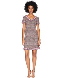 Boutique Moschino - Mat Tweed Dress (fantasy Print Fuchsia) Women's Dress - Lyst