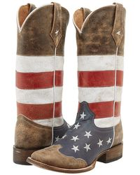 Roper - American Flag Square Toe Boot (brown) Women's Boots - Lyst