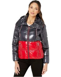 Tommy Hilfiger Shiney Color Block Puffer W/ Hood - Blue