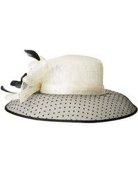 San Diego Hat Company - Drs1013 Derby Sinamay Dress Hat With Flocked Dot Brim - Lyst