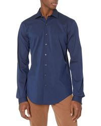 Kenneth Cole Reaction Dress Shirt Slim Fit Technicole Stretch Solid - Blue