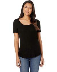 Lauren by Ralph Lauren - Refined Stretch 1x1 Rib Short Sleeve Top (polo Black) Women's T Shirt - Lyst