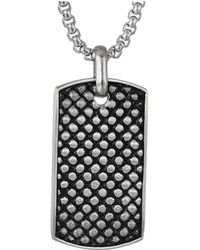 Steve Madden - Checkerboard Design Dog Tag Necklace In Stainless Steel (silver/black) Necklace - Lyst