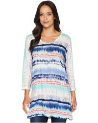 Nally & Millie - 3/4 Sleeve Blue Tie-dye Tunic (multi) Women's Blouse - Lyst