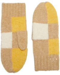 Tory Burch Check Mittens Extreme Cold Weather Gloves - Yellow