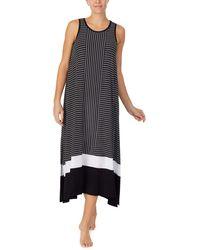 Donna Karan 48 Short Sleeve Long Sleep Gown - Black