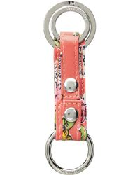 Vera Bradley Iconic Three Times A Keychain (coral Floral) Wallet - Multicolor