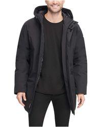 DKNY Water Resistant Hooded Logo Parka Jacket - Black
