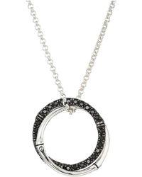 John Hardy - Bamboo Lava Medium Interlink Pendant On Mini Rolo Chain Necklace With Black Sapphire - Lyst