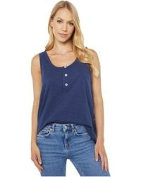 Dylan By True Grit Soft Slub Cotton Button Tank Top Clothing - Blue