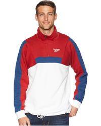 Reebok - Classics Quarter Zip Fleece Sweatshirt (white) Men's Workout - Lyst