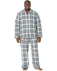 L.L. Bean Scotch Plaid Flannel Pajamas Tall - Blue
