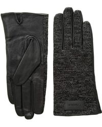 Calvin Klein - Knit And Leather Gloves (heathered Mid Grey) Extreme Cold Weather Gloves - Lyst