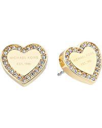 Michael Kors - Crystal Heart Studs Earrings (gold Tone) Earring - Lyst