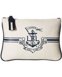 Lauren by Ralph Lauren Huntley Canvas Belt Bag (white/navy Logo) Belts